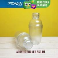 Shaker Plastik 550ml Transparan Acrylic Cocktail Shaker Bartender 550