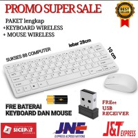 PAKET KEYBOARD WIRELESS + MOUSE WIRELESS MEREK SUNROSE T80 ORIGINAL - PUTIH SUNROSE