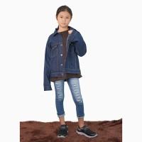 Jaket Jeans Denim Outdoor Washed anak Unisex - Jfashion Percy girl