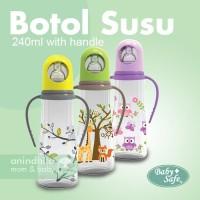 BABY SAFE Feeding Bottle With Handle 240ml | Botol Dot Susu Bayi