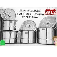 Panci Set Stock pots Homelux Plus Langseng isi 4 Panci dan 4 Kukusan