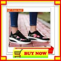 AN194 IN- sepatu wedges sneakers wanita sporty trendy motif bunga cant