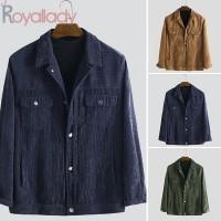 Jaket Casual Pria dengan Bahan Corduroy dan Bergaya Retro Vintage u TG
