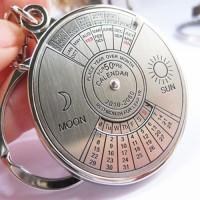 50 Years Perpetual Calendar Keyring Keychain Silver Alloy Key Chain