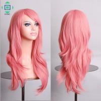 Wig / Rambut Palsu Wanita Model Panjang Medium Warna Pink Ukuran