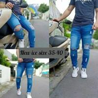 Celana Jeans Skinny Pria Sobek+Cowok Ripped+Jumbo Big size 35-40 - Biru Tua, 35