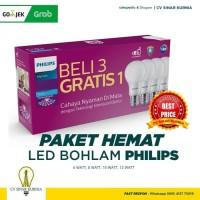 Lampu Bohlam LED Philips 6Watt, 6W, 6 Watt, 6 W paket (1 paket isi 4)