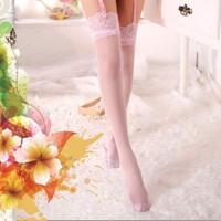 ANDREA Sexy Lingerie Lace Stocking Wanita Thigh High Sepaha Renda Pink