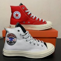 Converse chuck 70 Hi in white,red/rush blue