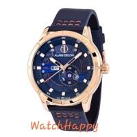 Alain Delon AD448-1585 AD448 AD 448 Dial Blue Leather 100 % Original