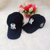 Topi Baseball NY(NewYork )bordiran Pria Wanita (Black)