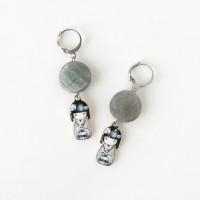 Storm Kokeshi Earrings // Anting Batu Gray Labradorite Coin Stone