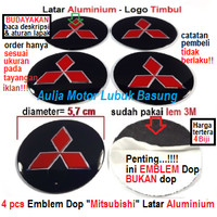 emblem wheel dop center roda as velg mobil mitsubishi 5.7 cm aluminium