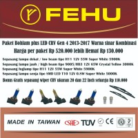 Paket bohlam Fehu plus LED Honda CRV Gen4 2013-2017. Sinar kombinasi