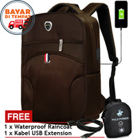 POLO POWER Tas Ransel USB Charger PW001 Tas Pria Laptop Import Coffee