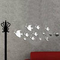 Dekorasi Rumah: Stiker Dinding Model Cermin Decal Ikan Laut+Bubble