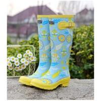 Sepatu Boots Ankle Wanita Bahan Karet Motif Print Bunga Untuk Musim