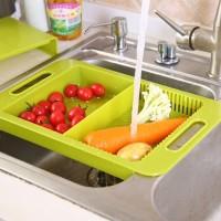 Set Keranjang Saringan Cucian Buah/Sayur+Talenan Gantung Bak Cuci