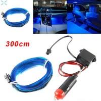 Lampu Strip LED 3 Meter Warna Biru untuk Dekorasi Mobil Universal
