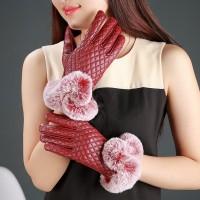 Wanita Sarung Tangan Hangat Fungsi Touch Screen Bahan Kulit PU+Bulu