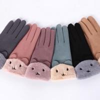 Sarung Tangan Velvet Touch Screen Warna Polos untuk Wanita