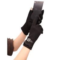Mengemudi Sarung Tangan Wanita Bahan Katun Plush Touch Screen untuk