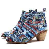 SOCOFY 1 Pasang Sepatu Boots Ankle Model Bohemian Motif Print