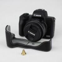 EOS M50 Tas Kamera Soft Case Bahan Kulit Asli Warna Hitam Untuk