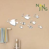 Stiker Dinding Desain Kartun Bubble Fish Bahan Akrilik untuk