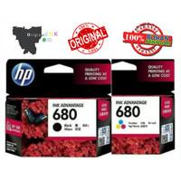 paket tinta hp 680 colour + 680 black losepack original