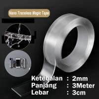 Double Tape Nano Magic Tape Isolasi 2 Sisi Bening - [2mm x 3meter]