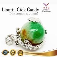 Liontin Batu Giok China Candy Asli 20mm Lilitan Naga - VeE Batu Giok