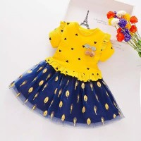 Dress korea A-line Import, Midi Dress anak Import bermotif