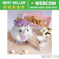 Set Teko Cangkir Teh Model Oranment Beauty &The Beast Disney Keramik