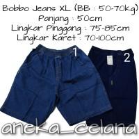 Celana Jeans Pendek Karet Polos Size XL - No.1