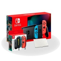 Nintendo Switch Console V2 (Neon) + Joy-Con Battery Pack & Card Case