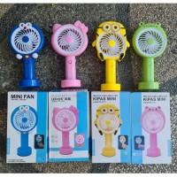 Kipas Angin Tangan Karakter Led Rechargeable Handheld Portable Fan