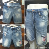 Celana Pendek jeans import pria stretch fashion Gaul sobek tambal