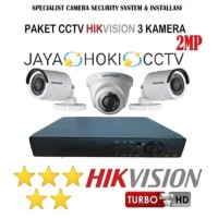PAKET CCTV HIKVISION 2MP. DVR 4 CH 3 KAMERA 2MP 1080P FULL HD KOMPLIT