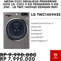 (Termurah) LG FC14094H3E Mesin Cuci dengan Pengering 100% 9 Kg + 5 Kg