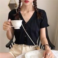 Versi Korea New Solid Color Knit Pendek Top V-neck Potongan T-shirt le