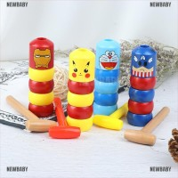 BABY 1Pc Super Hero Tumbler Magic Stubborn Wood Man Toys Close-Up TG
