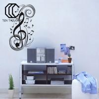 Stiker Dinding PVC Gambar Not Musik Removable untuk Dekorasi Ruang