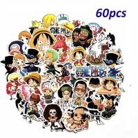 60Pcs / Lot Stiker Decal Anime One Piece Luffy Bahan PVC untuk Mobil