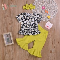 Baby Girl Cute Printed Short Sleeve Top And Trousers And Headband