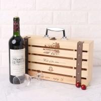 Kotak Penyimpanan Botol Anggur Merah Vintage Bahan Kayu