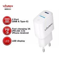 Charger VIVAN Dual Port USB (QC3.0) & Type-C (PD) 3A 18W Power Super