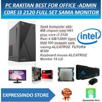 PC RAKITAN OFFICE -ADMIN CORE I3 2120 FULL SET SAMA MONITOR