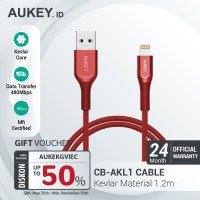 Aukey Cable MFI USB A To Lightning Kevlar Cable 1.2 M Red - 500449