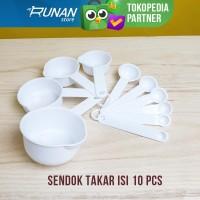 Sendok Takar Set isi 10 pcs Kopi Teh Measuring Spoon Set Putih Lengkap